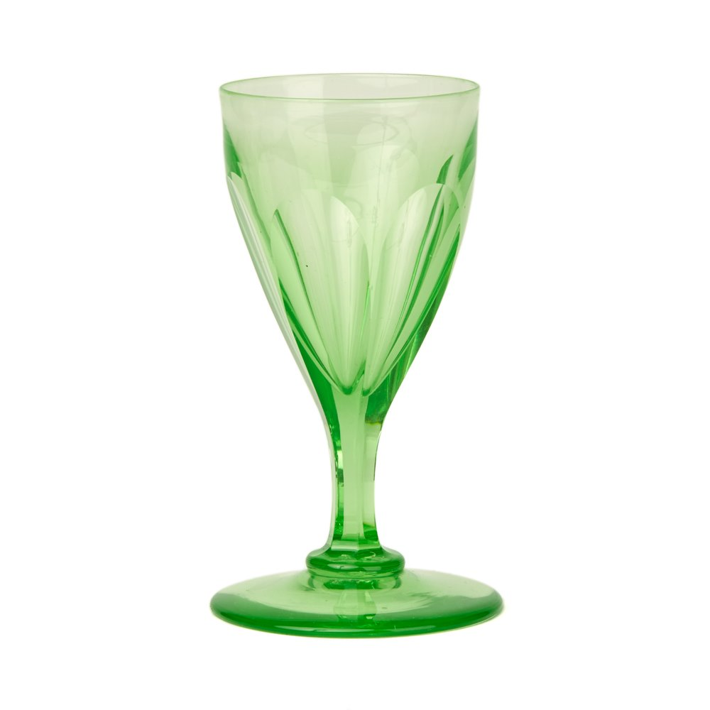 a7e752e9100 ANTIQUE GREEN URANIUM GLASS WINE GLASS 19TH C. Item Description