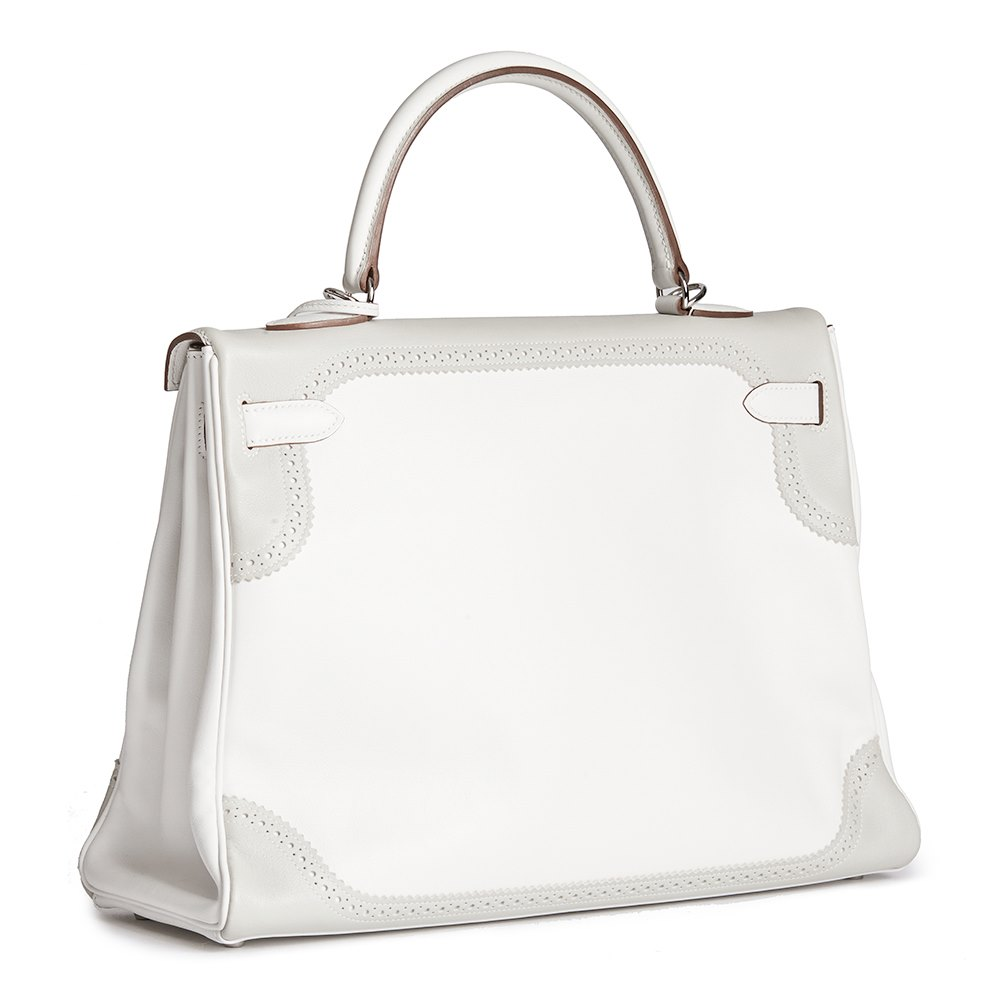 f8780bfd5ae Hermès White   Gris Perle Swift Leather Ghillie Kelly 35cm Retourne