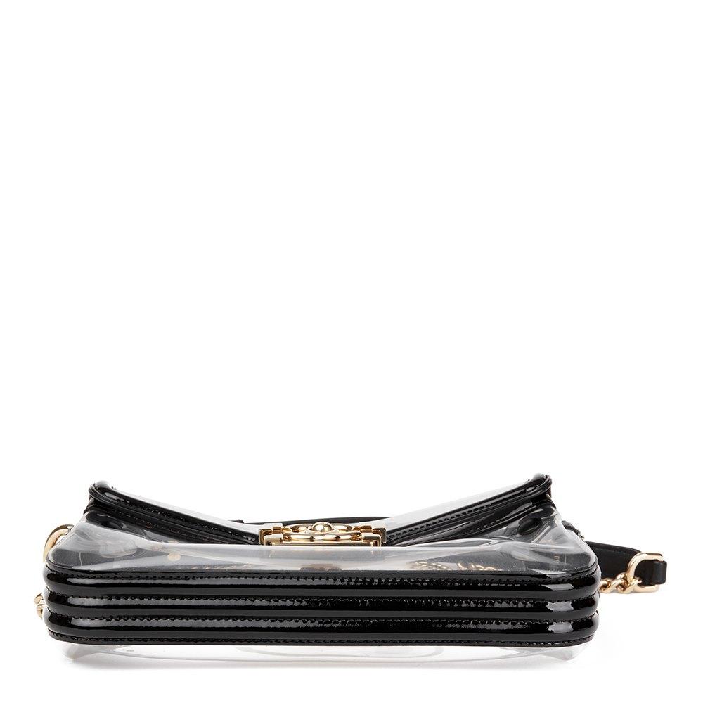 197aebf77fdb Dettagli su CHANEL nera pelle verniciata   trasparente in PVC NUDO BOY Flap  Bag HB1732- mostra il titolo originale